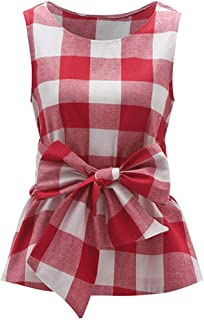 Women's Tops Sleeveless Belted Bow O Neck Plaid Vest Tank Summer Casual Girls Checkered Shell T-Shirts Blouses