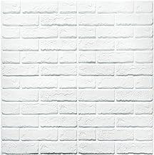 3D Papel tapiz de ladrillo, repique extraíble y pegatina de pared de espuma PE para sala de estar (Nuevo Estilo 5 piezas Ladrillo Blanco)