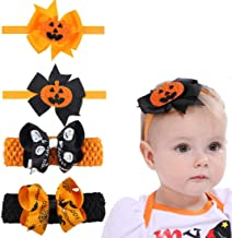 4 Pack Halloween Headband, 2 Pumpkin Costume Elastic Hair Bow and 2 Bowknot Elastic Hair Band Fits for Baby Toddler Girls Newborn and Infant