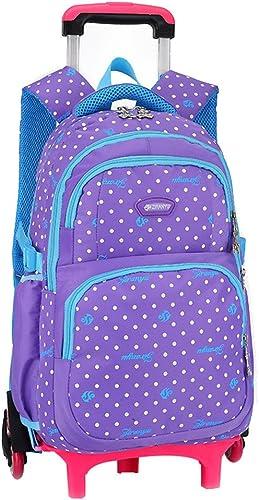 MineGrüng Hot Sales Kinder Schule Taschen 3-Rad Trolley Rucksack Dots Muster Schule Tasche Abnehmbare wasserdichte Rucksack für mädchen, lilat