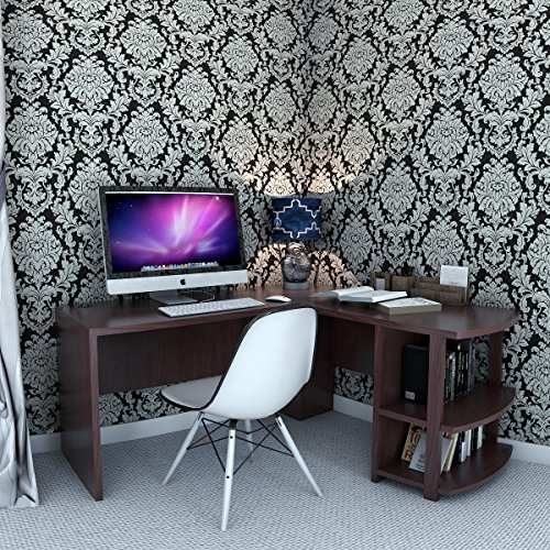 Ryan Rove Kristen Corner L-Shaped Computer Desk in Dark Russet Cherry