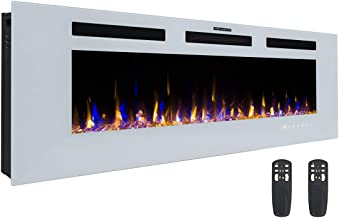 3GPlus 50 Inches Electric Fireplace Wall Recessed Heater Crystal Stone Flame Effect 3 Changeable Color, 2 Remotes, 1500W - White