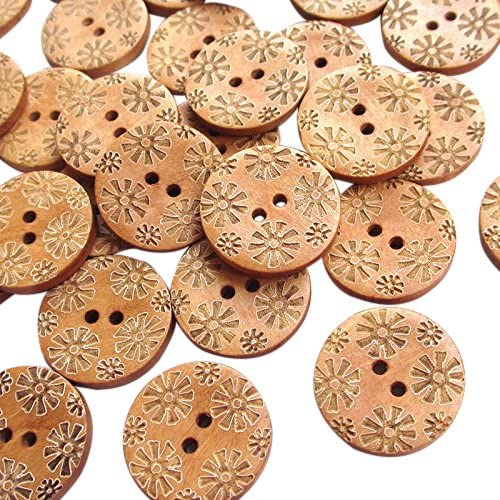 New Mix 50pcs Brown Carve Flowers Bead 25mm Max New Orleans Mall 45% OFF Buttons Wood Sewing