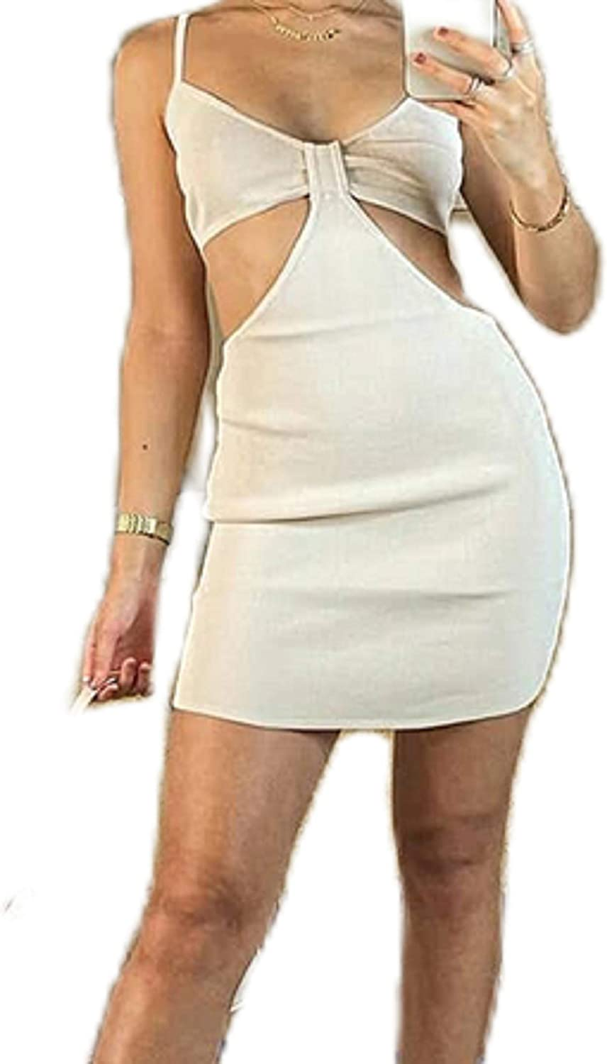 Sexy Halter Neck Sleeveless Backless Dress Bandage Cut Out Criss Cross Wrap Mini Dresses Y2K Club Party Night Streetwear