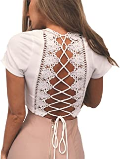 Antopmen Women Sexy Deep V Neck Short Sleeve Back Cross Tied Up Tee Backless Lace Crop Top