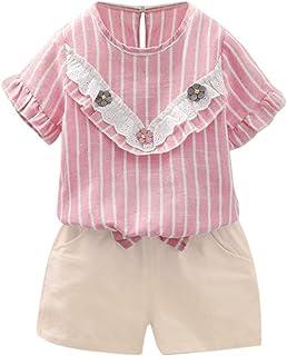 Mhomzawa 子供服 幼児 赤ちゃん 女の子 花 ストライプ トップス+ショートパンツ 2点セット 可愛い 夏 上下セット 出産祝い 普段着