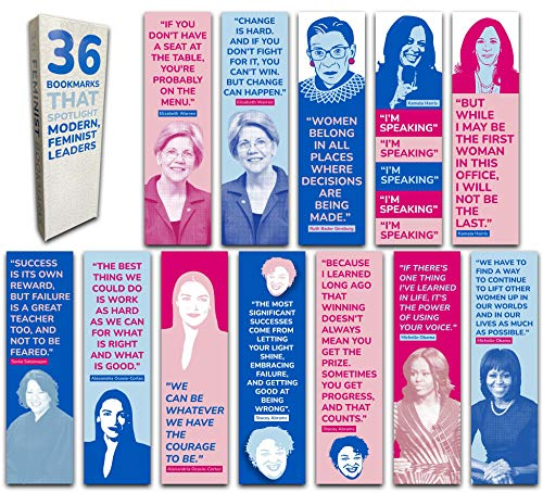 36-Pack of Feminist Leaders Paper Bookmarks. Perfect for Women, Girls and Feminists. These Cool, Cute, & Fun Book Marks Have Inspirational, Motivational Quotes by Ruth Bader Ginsburg, VP Harris, etc.