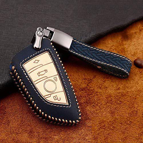 YANJHJY Funda Protectora de Cuero para Llave con diseño de Coche, Apta para BMW X5 F15 X6 F16 G30 7 Series G11 X1 F48 F39 Funda Protectora de Llave, Azul