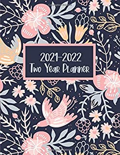 2021-2022 Two Year Planner: Pretty Floral Peach Pink Folk Art Cover | 2 Year Calendar 2021-2022 Weekly Planner | 24 Months...