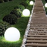 3x LED Solar Außen Steck Lampen Garten Erdspieß Kugel Rasen Leuchten weiß Globo 33770-3