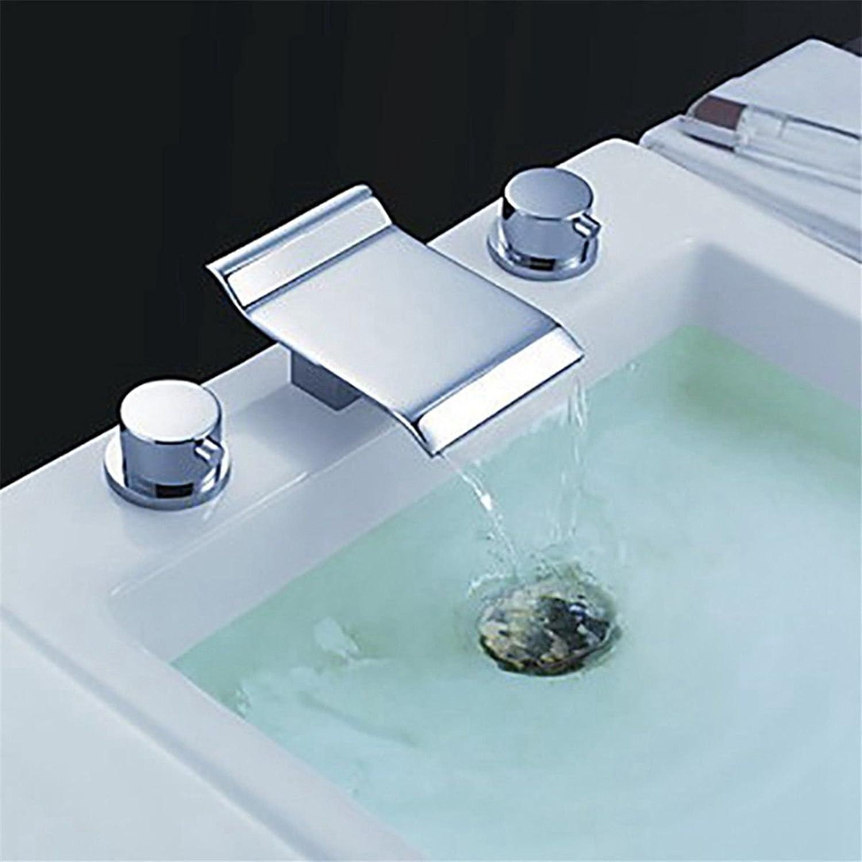 Lvsede Bad Wasserhahn Design Küchenarmatur Niederdruck Verchromtes Messing Doppelgriff Drei Lcher Wasserfallauslass Hei Und Kalt G2421