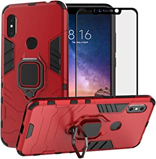 BestAlice for Xiaomi Redmi Note 6 Pro Case/Redmi Note 6 Case, Hybrid Heavy Duty Protection Shockproof Defender Kickstand Armor Case Cover Tempered Glass Screen Protector,Red