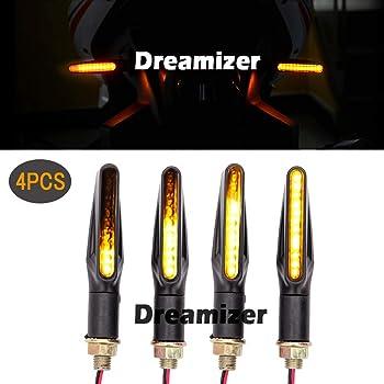 Dreamizer 4pcs Motorrad Blinker Universal 12v Bernstein Fließendes Lauflicht 12 Led Anzeigen Für Motorrad Roller Quad Cruiser Off Road Auto
