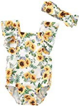 RUIVE Summer Romper Infant Baby Girls Sleeveless Sunflower Print One Piece Bodysuit Clothes Outfits Jumpsuit+Headband