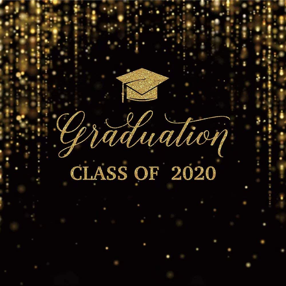 Gold and Black Graduation Party Backdrop Class of 2020 Golden Glittering Bokeh Light Dots Banner Glimmer Shimmer Poster Congrats Grad Prom Portrait Photo Shoot Photography Background Decoration Props