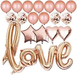 SAPU 40 Inch Rose Gold Love Balloons Party Kit Valentines Day Decorations and Gift for Him or Her Rose Gold Foil Heart Bal...