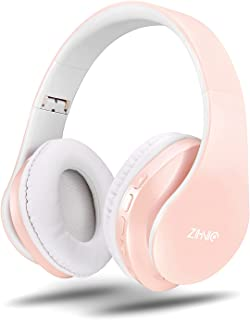 zihnic - Auriculares inalámbricos para colocar sobre las orejas con graves profundos, Bluetooth y auriculares estéreo con cable, micrófono integrado para teléfono celular, TV, PC, orejeras suaves y peso ligero para uso prolongado (rosa)