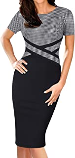 Elegant Womens Colorblock Work Business Office Church Sheath Dress