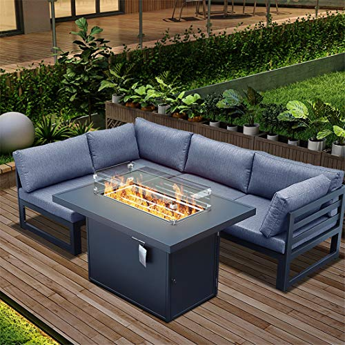 RADIATA Patio Furniture Sectional Sofa with Gas Fire Pit Table Outdoor Patio Furniture Sets with firepit Table Propane Fire Pit (Gary+Charcoal Blue)