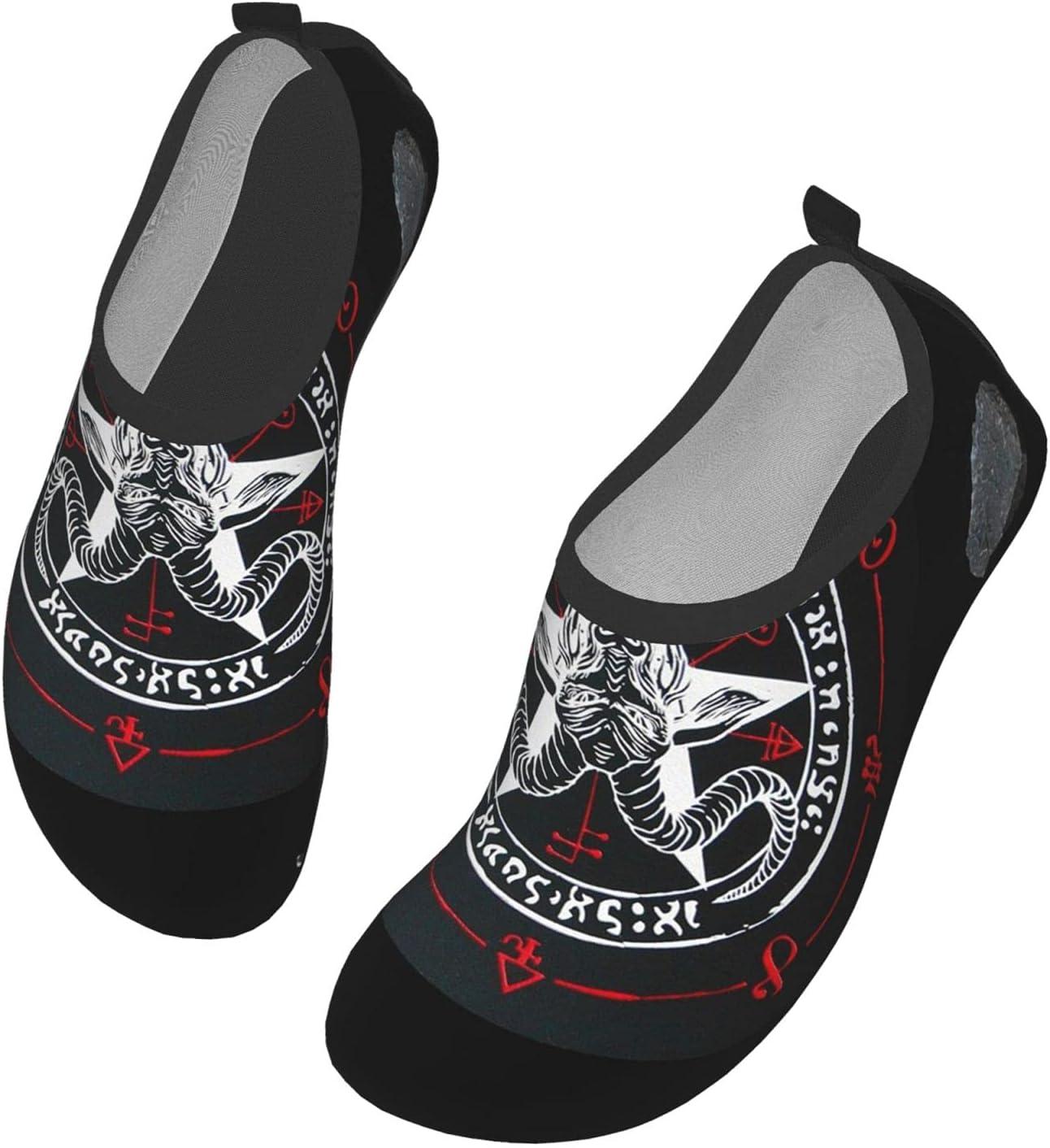 Womens Mens Summer Water Shoes Demon Baphomet Satanic Goat Head Barefoot Shoe Quick Dry Aqua Socks