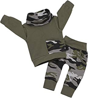 Toddler Kids Baby Boys Girls Camouflage Long Sleeve Sweatshirt Tops Pants Cotton Clothes High Neck Outfits Set