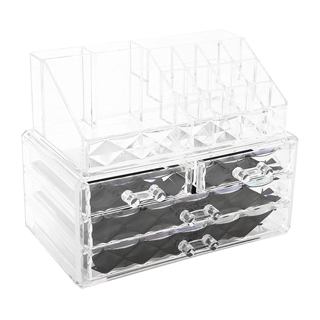 変装アスリート換気プロ用 メイクボックス 高品質 大容量 (ダイヤモンドクリスタル) 化粧品収納ボックス メイクブラシ 化粧道具 小物入れ 化粧品入れ コスメ収納スタンド(2色) (透明)