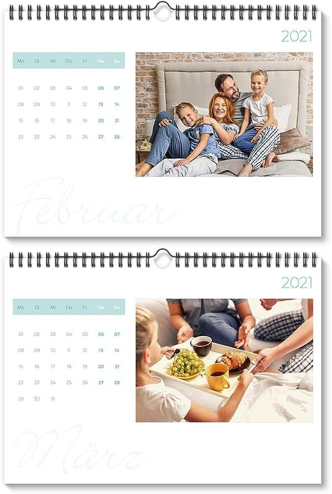 Fotokalender Wandkalender 2021 individuell 12 Fotos A4 hoch Holz Lichtgirlande