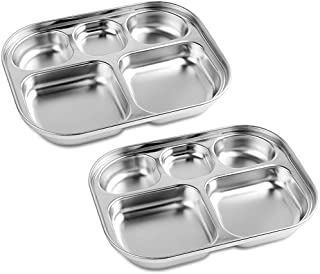 Stainless Steel Divided Plates Tray - (2-Pack) 5-Section - Kids Toddlers Babies, Camping Dishes, Compact Serving Platter, Dinner Snack, 5 Compartment