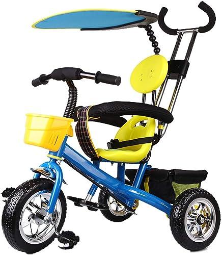 YUMEIGE Tricycles Roue écuhommete de Tricycle pour Enfants avec auvent 2-6 Ans, Cadeau d'anniversaire Poussettes pour Enfants Trike Poids de Charge 25 kg (Couleur  Bleu Rose) Peut Obtenir