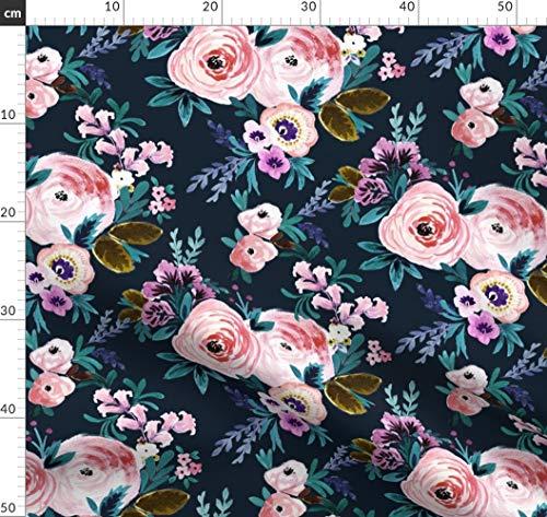Blumen, Petrol, Mädchen, Rosen, Mitternacht, Marineblau Stoffe - Individuell Bedruckt von Spoonflower - Design von Crystal Walen Gedruckt auf Seidenimitat Crêpe de Chine