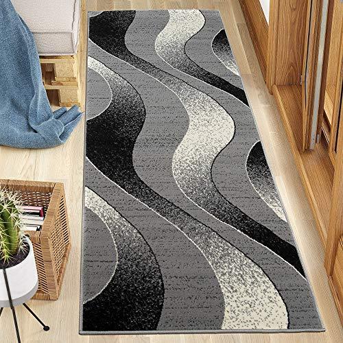 Carpeto Rugs Teppich Läufer Flur - Modern Teppichläufer Flurläufer – Kurzflor, Weich - für Küche Vorzimmer Eingangsbereich Schlafzimmer - Meterware 80 cm Breit - Grau 80 x 400 cm