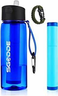 SGODDE Water Filter Bottle with 2-Stage Filter Straw Filtration Water BottleBPA Free Water Purification Bottle for Hiking ...