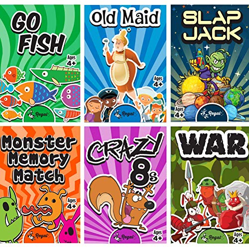 Regal Games Classic Card Games Including Old Maid, Go Fish, Slapjack, Crazy 8's, War, Silly Monster Memory Match (All 6 Games)