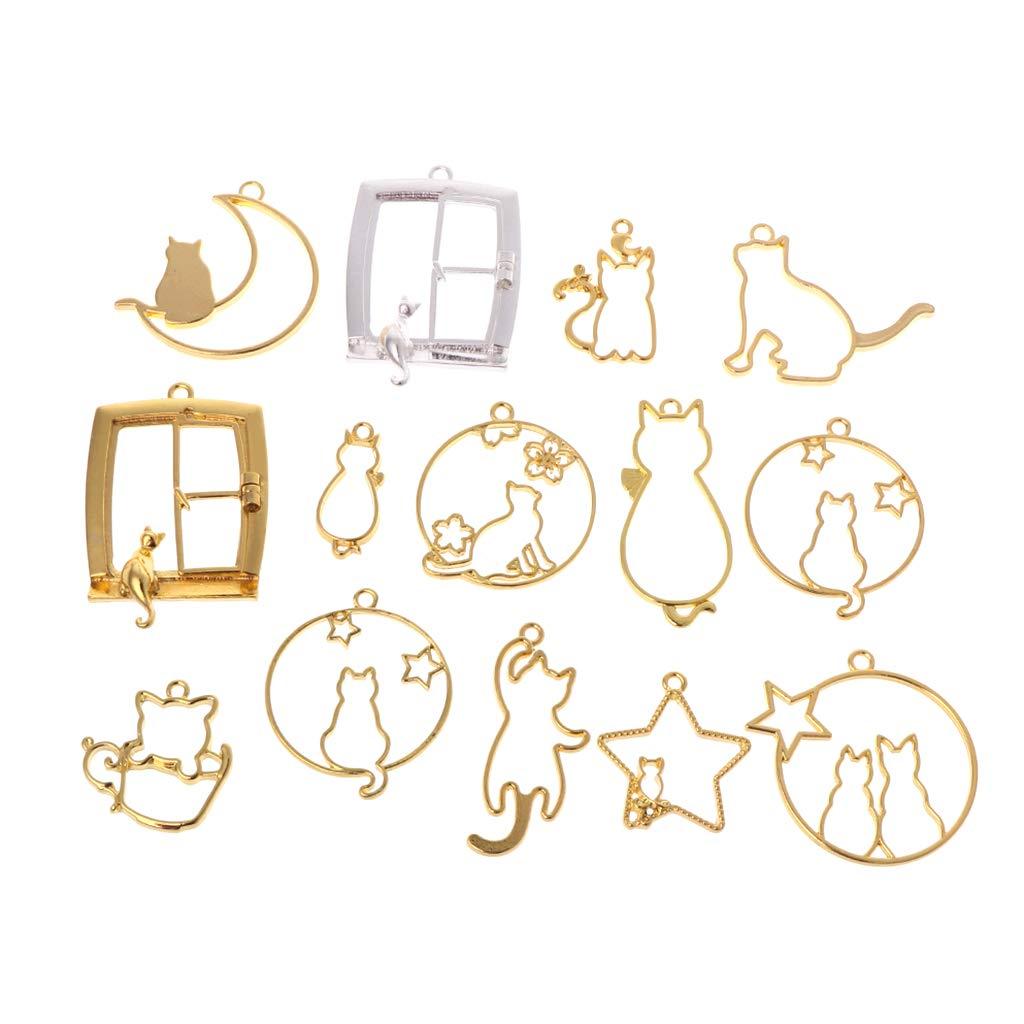 14 Unids/Set DIY Artesanía De Resina Epoxi Marco De Metal Gato Gatito Forma De La Luna De Dibujos Animados Joyería Colgante Collar UV Resina Material: Amazon.es: Hogar