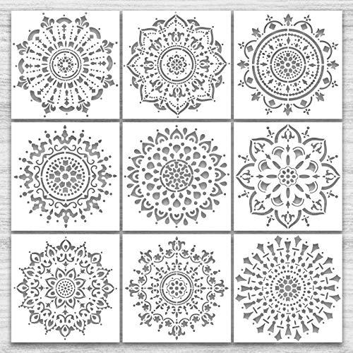 Mandala Schablone Set,9 Stück Groß wiederverwendbare Laserschnitt Malschablone/Airbrush Vorlage,Mandala Dotting Schablonen für Wand/Stein/Holz Möbel/Malen Vorlagen Kinder