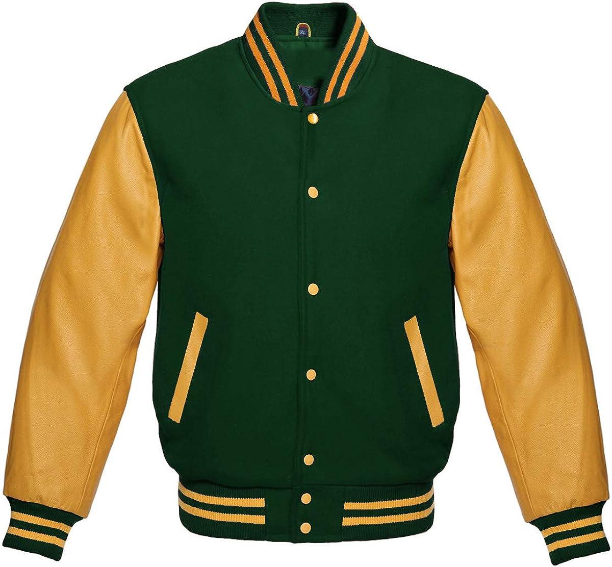 Varsity Letterman Baseball Bomber Retro Vintage Jacket Forest Green Wool Gold Genuine Leather Sleeves
