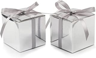 COTOPHER 100pcs Small Gift Boxes, Favor Boxes 2x2x2 inches Paper Gift Boxes with Ribbons Candy Box for Wedding Favors Baby Shower Bridal Shower Birthday Party (Metallic Silver)