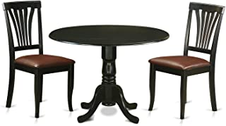 East West Furniture DLAV3-BLK-LC 3 Piece Dining Table and 2 Room Chairs Kitchen Nook Set