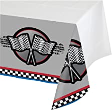 Creative Converting Racing Happy Birthday Table Cover, 102 inch Length x 54 inch Width