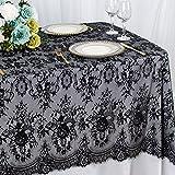 Mantel de encaje de 150 x 300 cm, color negro, vintage, hecho a mano, elegante mantel de encaje...