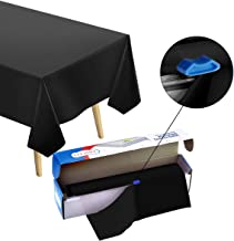 Heavy Duty Plastic Tablecloth Roll - Durable Plastic Table Cover Roll   Indoor/O Black