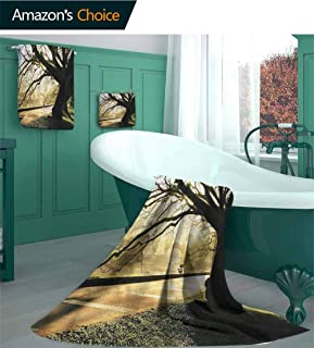 Tree 3 Piece Bath Towel Set, Taiping Lake Gardens Woods Design Pattern Bathroom Set, Sand Free Towel for Beach, Travel, Swim, Pool, Camping /3 Piece Set - S