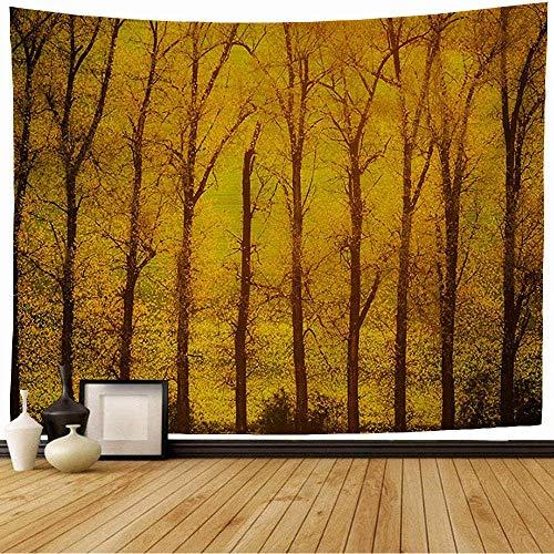 N\A Tapiz Colgante de Pared Abstracto Soleado Amarillo árboles Creciente Fila Naturaleza Natural Primavera Parques otoño viga Hermosa Rama Tapiz Vintage para Dormitorio hogar Dormitorio