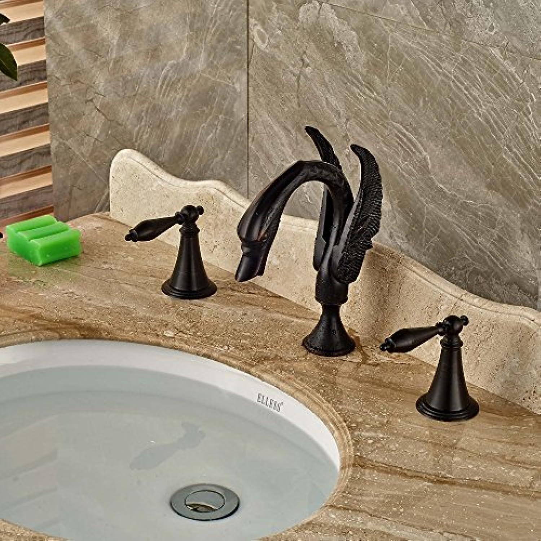 Retro Deluxe Fauceting Gro- und Einzelhandel elegante l eingerieben Bronze Swan Badezimmer Waschbecken Wasserhahn Dual Griffe Waschbecken Mischbatterie