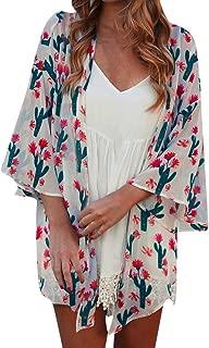 Kimono Cardigan for Women Women Tops Summer Cactus Print Flare Sleeve Half Sleeved Cardigan Tops