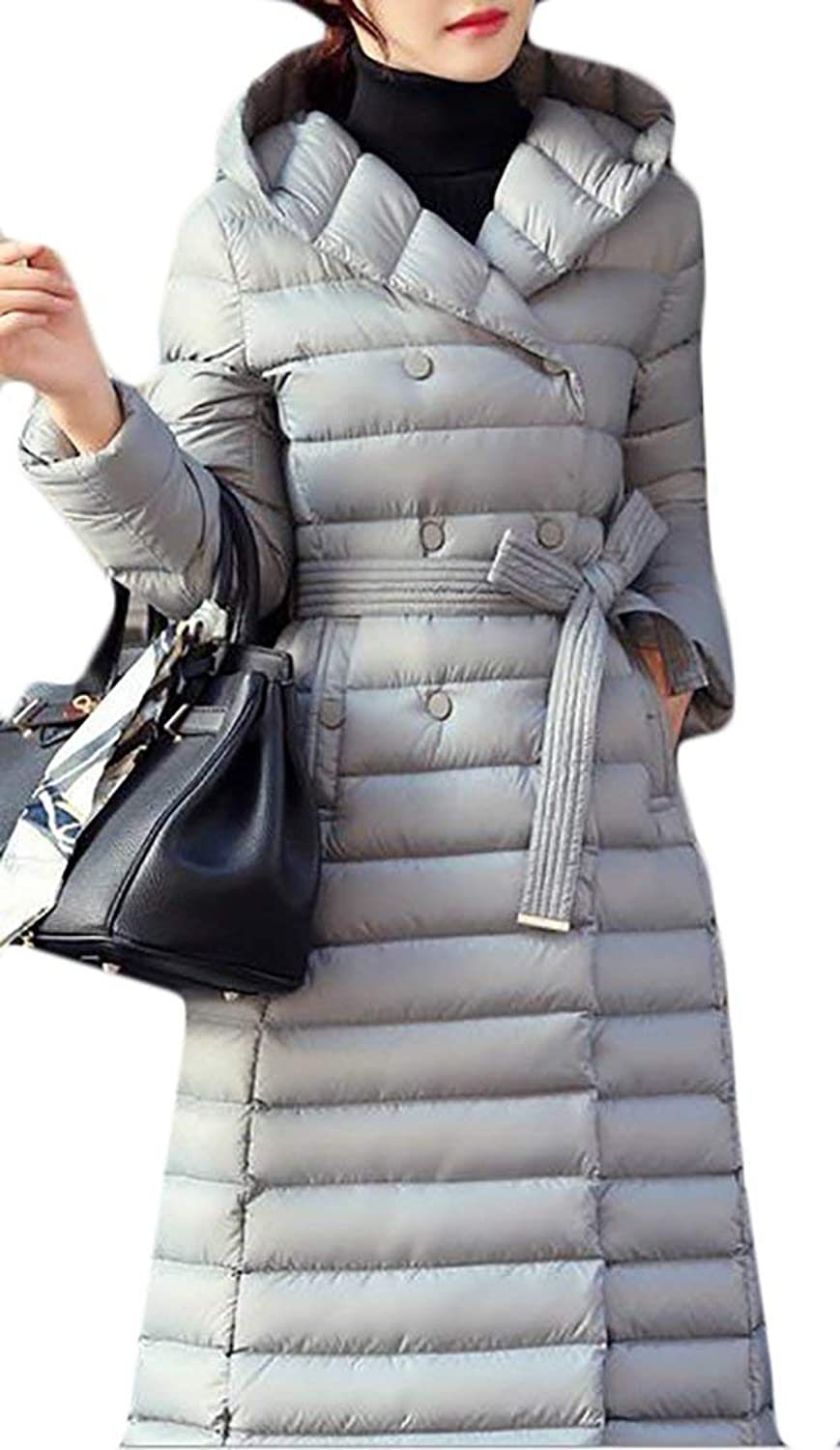 Alion Womens Winter Full Zipper Warm Hooded Long Down Coat