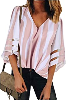 Freedom Womens Mesh V neck Trumpet Sleeves Stitching Blouses Shirt Tops