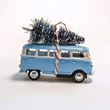 Light Blue VW Van Christmas Ornament with Tree on Top