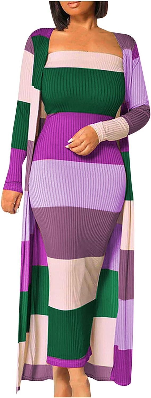Women's Stripe Knit Long Cardigan Set Sexy Stripe Solid Color Matching Dress Long Sweater Cardigan Coat Sets