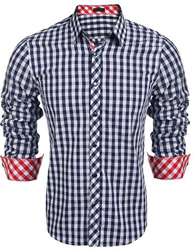 Burlady Karohemd Herren Hemd Langarm Trachtenhemd Karierte Hemden Cargo Bügelleicht Freizeit Bursiness Männer (L, 63-Blau)